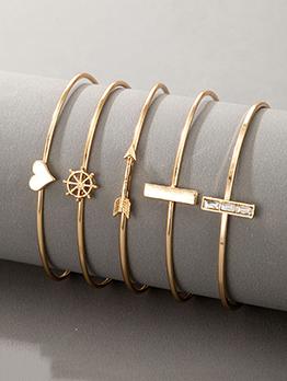 Sell Well Heart Arrow Rectangle Five-Piece Bracelet