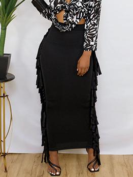 Adorable Plain Black Long Fringe Women Skirt