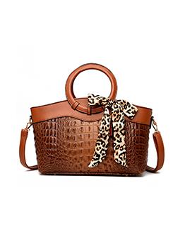 Vintage Alligator Printed Leopard Bow Handbag For Women