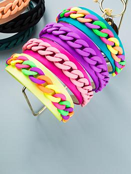 Pastoral Style Wide Edge Geometry Chain Decorate Hair Hoop