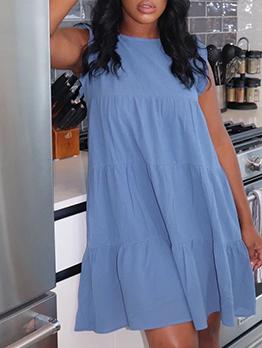 Casual Ruffles Solid Loose Shirt Sleeveless Dress