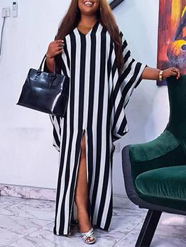 Striped Loose Bat Sleeve Plus Size Maxi Dress