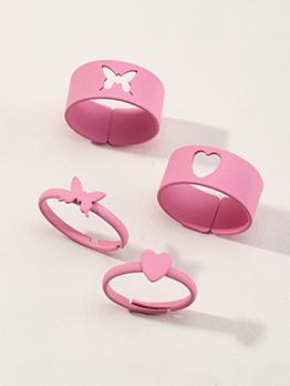Alloy Cute Heart & Butterfly 4-Piece Ring Set