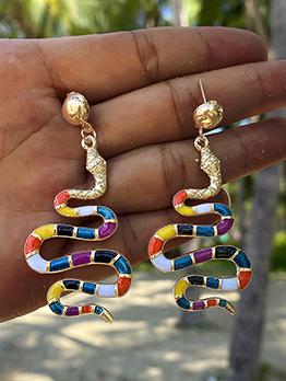 Snake Shape Colourful National Style Earrings