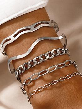 Simple Vintage Geometry Bracelet 5 Pieces Set