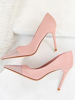 Rhinestone Pointed Toe Slip On Heels For Women