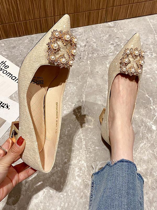 Fashion Sequined Rhinestone Faux Pearl Slip On Heels