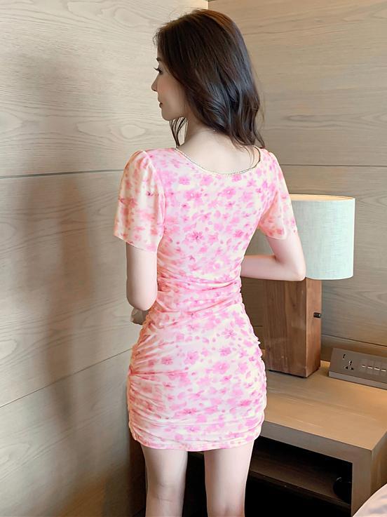 V Neck Printed Short Sleeve Skinny Dresses For Women