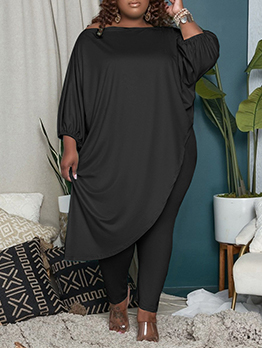 Plus Size Irregular Two Piece Outfits