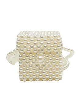 Individual Cube Beaded Faux-Pearl Shoulder Bags