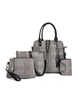 Travel Plaid Cat Pendant Tassel Handbag Sets