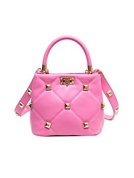 Favorite Rivet Rhombus Lattice Bucket Hand Bags