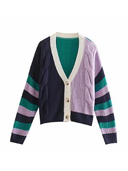 New Knitting Contrast Color V Neck Cardigan