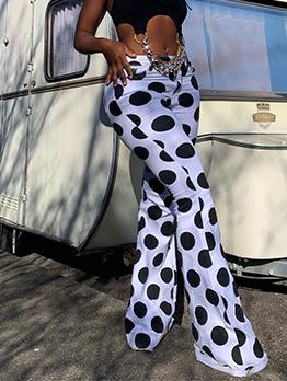 Fashion Dot Boot Cut Long Pants For Women