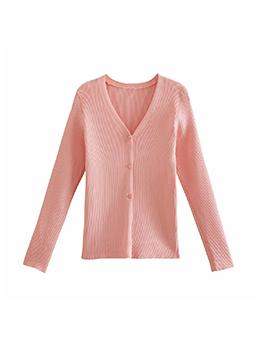 Simple Design Solid V Neck Long Sleeve Coat