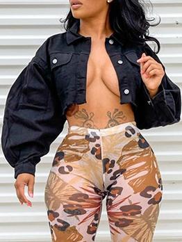 Cool Plain Black Crop Long Sleeve Jacket