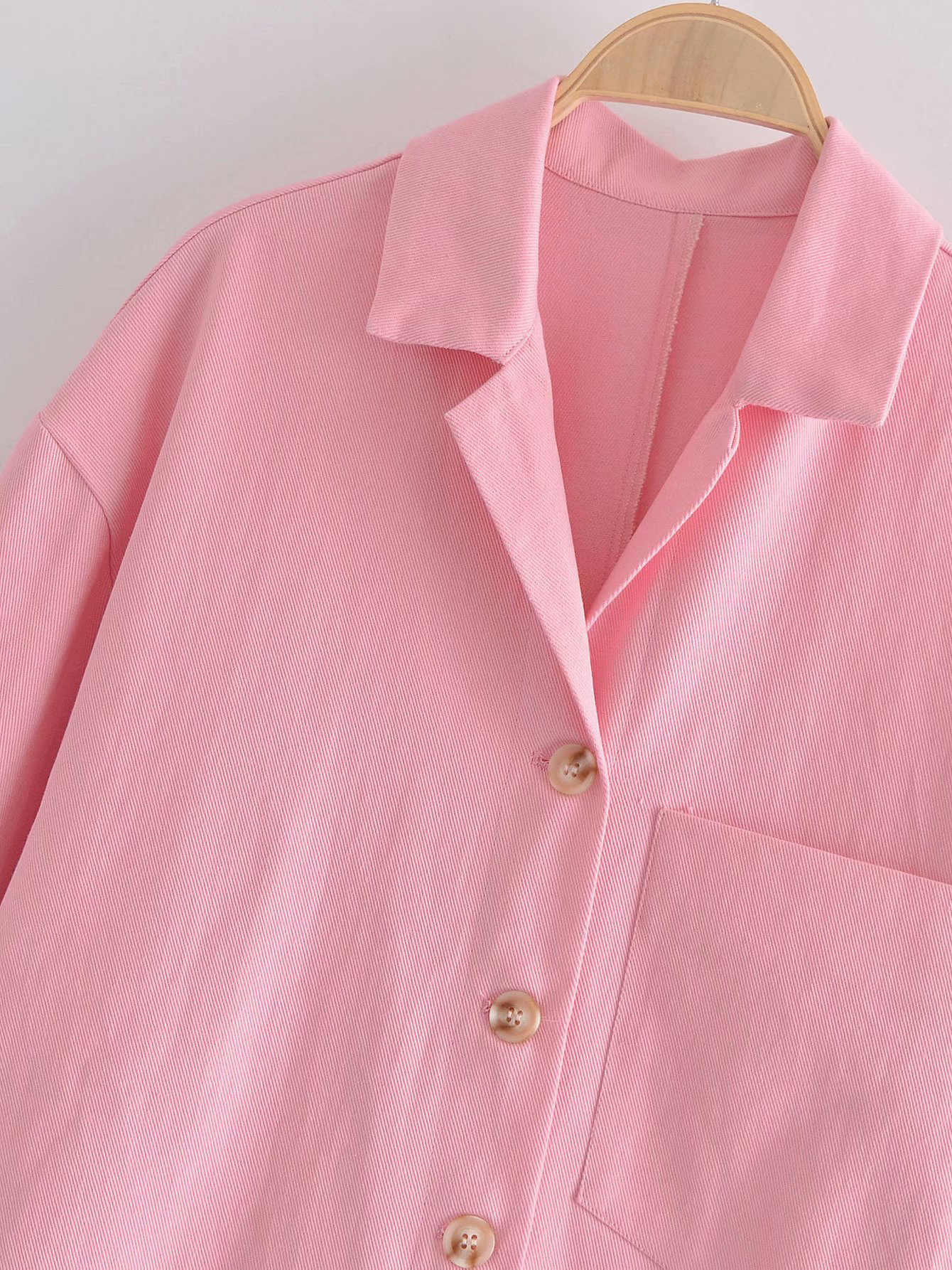 New Solid Single Button Women Blouse