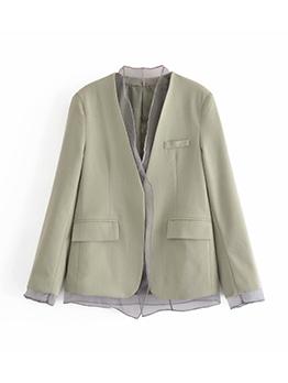 Fashion V Neck Patch Short Coat