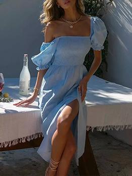 Summer Casual Puff Sleeve Midi Dress For Women