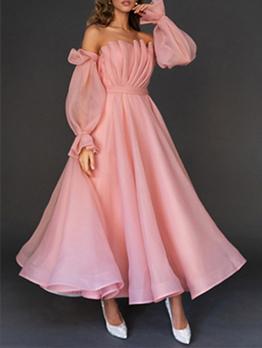 Ruched Design Off Shoulder Pink Party Maxi Dresses