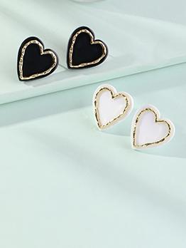 Simple Heart Shape Easy Matching Stud Earrings