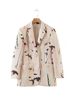 Fashion Print Long Sleeve Ladies Blazer