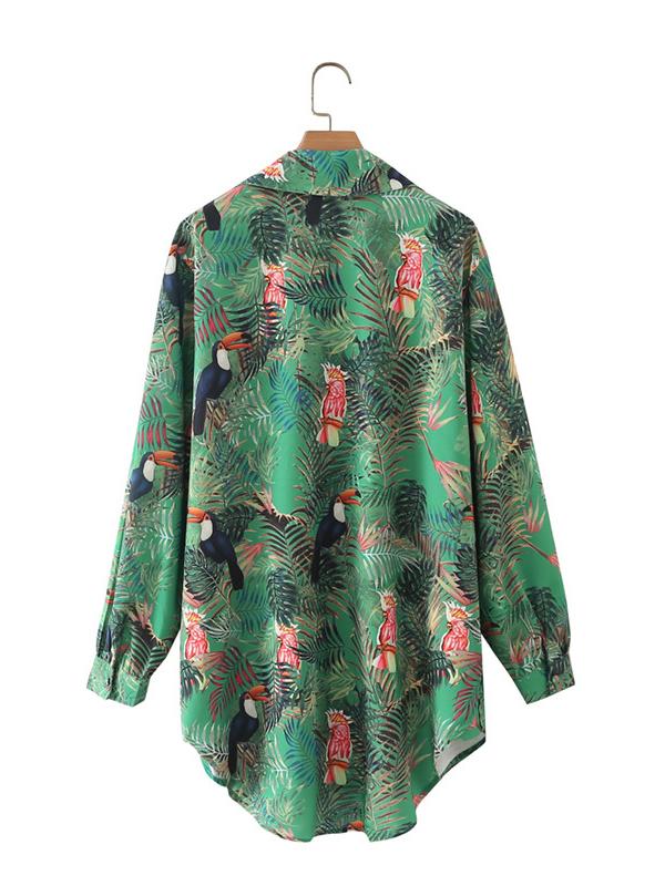 Vintage Print Long Sleeve Blouse For Women