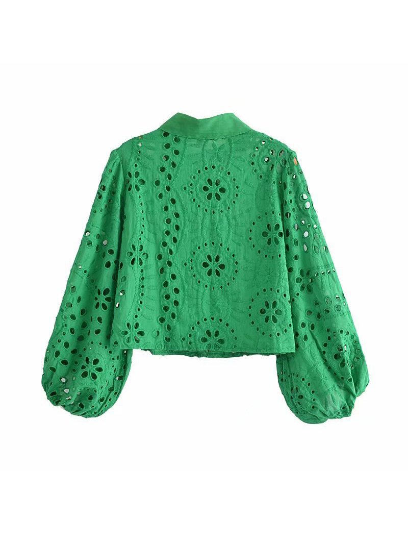 Pure Hollow Out Long Sleeve Blouse