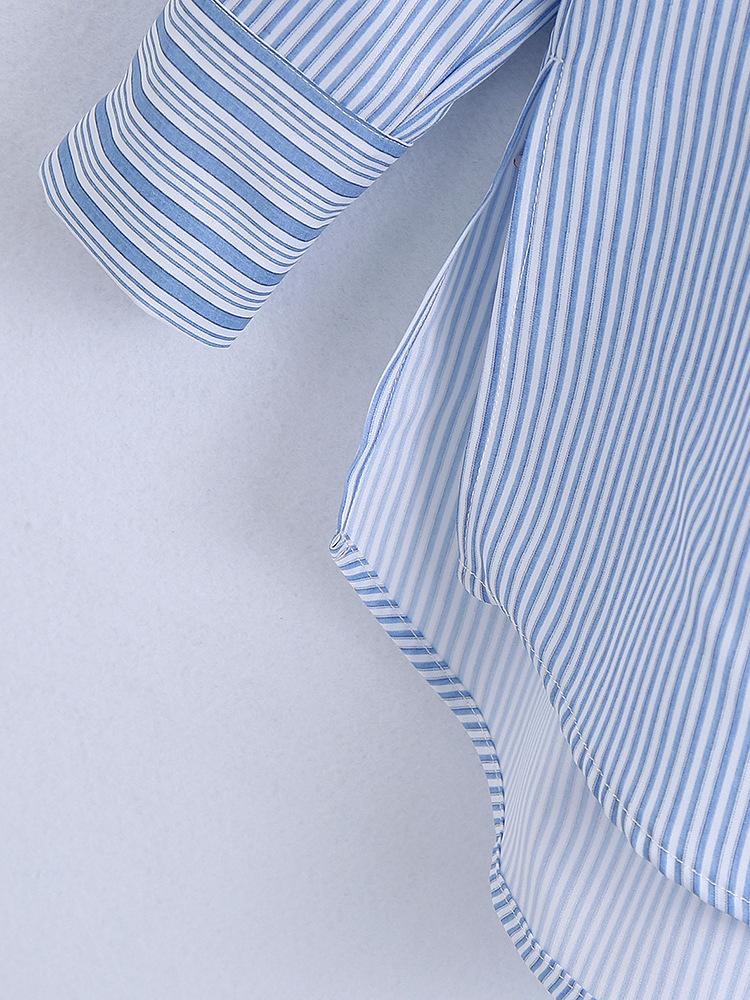 Fashion Striped Turndown Collar Blouse For Women