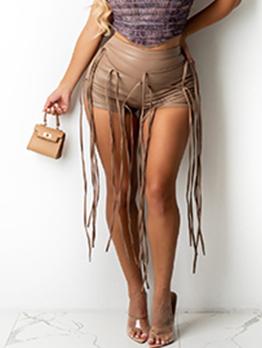Sexy Pu Tassel Mid Waist Short Pants