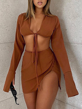 V Neck Tie Wrap Solid Long Sleeve Two Pieces Skirt Set