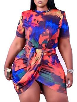Women Leisure Tie Dye Plus Size Skirt Sets
