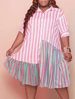 Striped Contrast Color Patchwork Plus Size Shirts Dresses