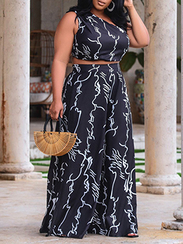 Printed Plus Size Cropped Tank With Loose Pant