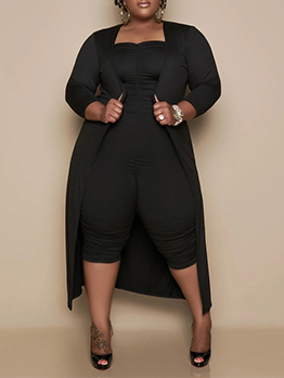 Summer Plus Size Solid Jumpsuit With Maxi Cardigan