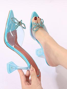 Fashion Bow Rhinestone Goblet Heeled Slipper For Women