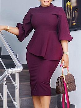 Fashion Solid Lantern Sleeve Midi Dress