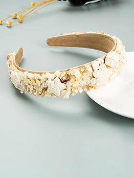 Trendy Faux-Pearl Shell Starfish Hair Hoop