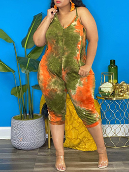 Tie Dye Printed Casual Plus Size Camisole Jumpsuits