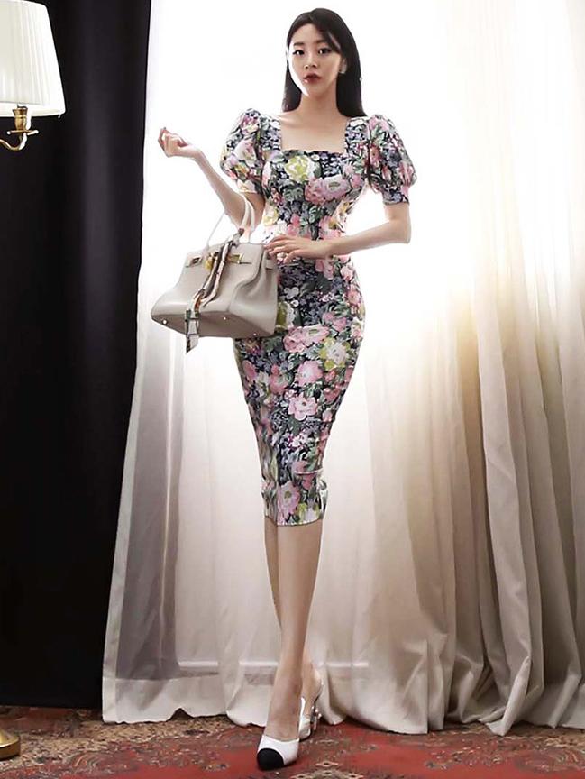 Elegant Full Print Square Neck Short Sleeve Dress