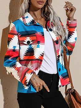 Fashion Contrast Color Long Sleeve Women Short Coat