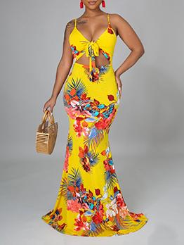 Euro Spaghetti Strap V Neck Printed Maxi Dress