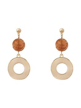 Vintage Round Shape Resin Pendant Earrings
