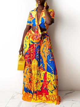 National Multicolored Print 2 Piece Maxi Skirt Set