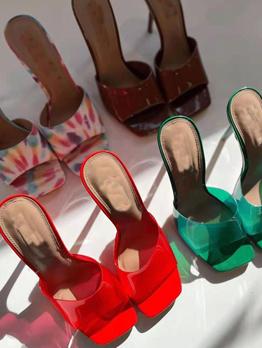 Fashion Square Neck High Heel Ladies Slippers
