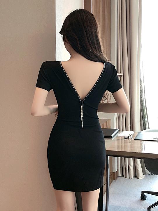 V Neck Black Versatile Short Sleeve Bodycon Dress