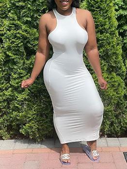 Simple Design Solid Sleeve Bodycon Maxi Dress