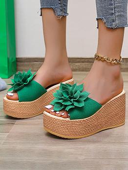 Bohemia Green Flower Wedge Heeled Slippers