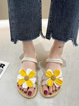 Beach Flower Vacation Open Toe Flat Sandals