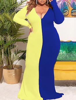 Fashion Contrast Color Low-Cut Long Sleeve Maxi Dress